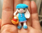 Crochet Bunny Amigurumi Doll - Teeny Tiny Miniature Plush Toy - Made To Order