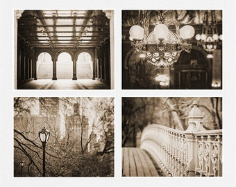 Vintage Print or Canvas Art, Sepia Decor, Sepia Photography, Sepia Print Set of 4, New York City Art, Chandelier Photograph, Sepia.