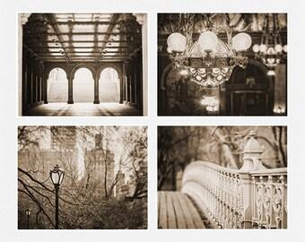 Vintage Photography, Sepia Decor, Sepia Photography, Sepia Print Set of 4, New York City Art, Chandelier Photograph, Sepia Landscape Prints.