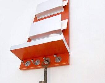 LUMEN: tangerine tango modern wooden wall hanging mail organizer key hooks holder home office organization entry interior urban chic decor