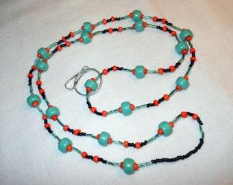 Green Orange Black Beaded Lanyard, ID, badge, necklace