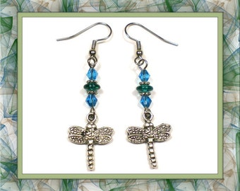 Two-Tone Dragonfly Earrings (Clip-On by Request)