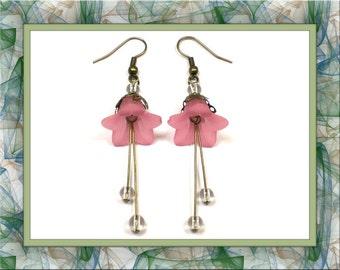 Pretty in Pink Flower Dangle Earrings (Pierced Only)