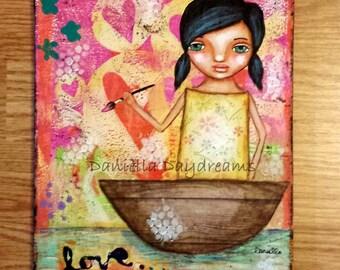 Whimsical Folk Art Girl - Creating Love - 8x10 Original Mixed Media Painting on Canvas Board