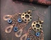 Vintage earrings// copper, Bronze, Indigo,Blue, Universe