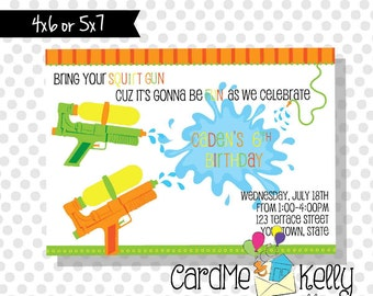 Printable Boy or Girl Squirt Gun Water Fight Pool Party Summer Party Invitation- Digital File