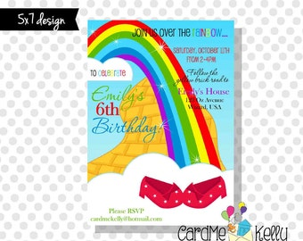5x7 Printable Wizard of Oz Yellow Brick Road Ruby Slippers Birthday Party Invitation - Digital File