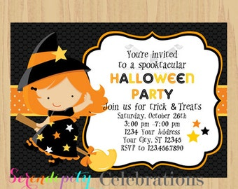 12 Printed Invitations By Serendipity Celebrations -Witch -Birthday -Baby Shower -Printing Service