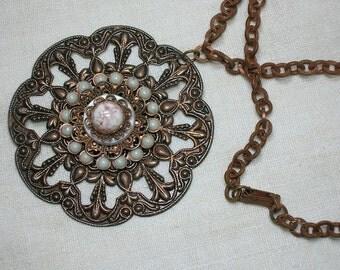 1950s Copper Necklace & Pendant, Pink Lucite, Copper Flakes Statement Piece