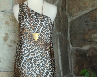 60s LEOPARD SLIP TUNIC top vintage one shoulder lingerie tank nightie S