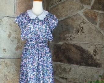 80s LACE COLLAR DRESS vintage floral prairie blouson flutter sleeve hippie M
