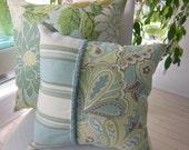Seaglass Decorative Pillow - Hampton Bay Beach Pillow - 15 x 15 Designer Pillow - Dusk Blue and Seaglass Green