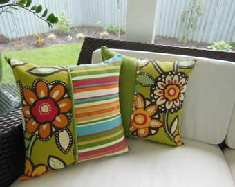 Outdoor Spicy Sunflower Kiwi Striped Pillow - Indoor / Outdoor Fabric - Reversible 16.5 x 16.5 Inch Pillow - Beach Porch Pillow