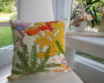 Tropical Pillow - Outdoor Sea Life Pillow - Indoor Outdoor Fabric - Reversible 16.5 x 16.5 Inch Pillow -  Beach Home, Seaside Cottage Pillow
