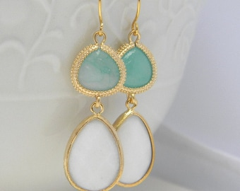 Turquoise and White Dangle Earrings Trimmed in Gold-Drop Earrings-Bridesmaid Gift- Wedding Earrings-Spring Wedding-Jewelry Gift
