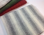 Wool Fabric for Rug Hooking and Applique, Fat 1/4 Yard, White and Black Stripe, J732