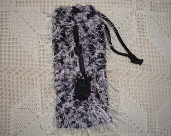 Silver and Black Crocheted Bag with Fimo Bead Pendant