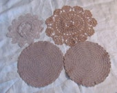 Lot of 4 Assorted Lovely Antique Round Crocheted Doilies