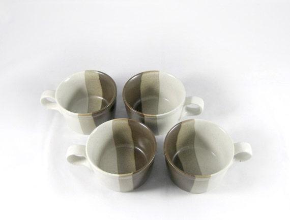 4 Modern Coffee Mugs Vintage MIKASA Studio Kiln by ben seibel - Made in Japan  Mid Century Mod 1970s Design Style Earthtones Tan Brown Beige