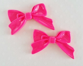 4pcs - Hot Pink Sweetheart Bow Decoden Cabochon (45x30mm) BM10012