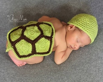 Newborn turtle hat and body cover, photography props, newborn photo prop, newborn boy, newborn hat, newborn diaper cover, knit newborn