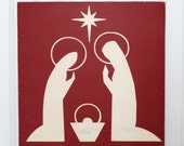 Nativity Christmas Decoration Nativity Painting Rustic Christmas Wall Decor Christmas Artwork Dark Red