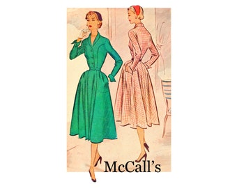 ON SALE 50s Dress bodice seams pockets cuffs and collar Bust 32 Size 14 Softy Tailored Dress Vintage Sewing Pattern McCalls 8680 from 1951
