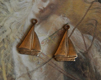 2 Vintage Old Brass Nautical Sailboat Charms