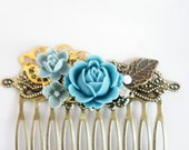 Blue Flower Shabby Chic Collage Comb - OOAK Victorian Style Shabby Chic Rose Collage Hair Comb - Rhinestone Butterfly Flower - VCC003