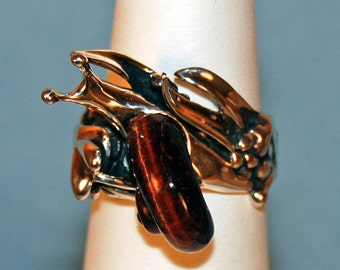 Carved Tiger Eye and Sterling Snail Ring