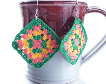 Crocheted Granny Square Earrings / Green, Pink, Yellow