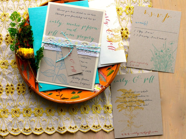 Bright Wedding Invitations: Bohemian Wedding Invitations Bright Summer Wedding By