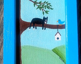 Sitting in the Catbird Seat, Original Tiny Painting of a Cat In a Tree