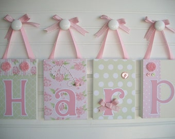 "Shabby Chic  Name Block- Baby Name Blocks- Letters - Large 5"" x 7"" Letter Blocks - Personalized Blocks"
