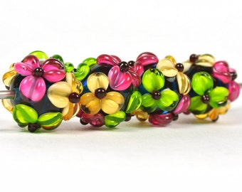 Handmade Lampwork Flower Bead Set - 4 beads