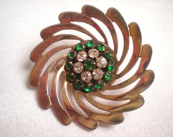 1950s Green and Clear Rhinestone Swirl Pin