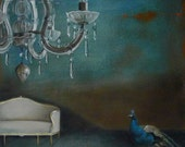 Reserved . Still life Painting, Print, The lonely peacock, acrylic painting, crystal chandelier, old blue, antique furniture interior art,