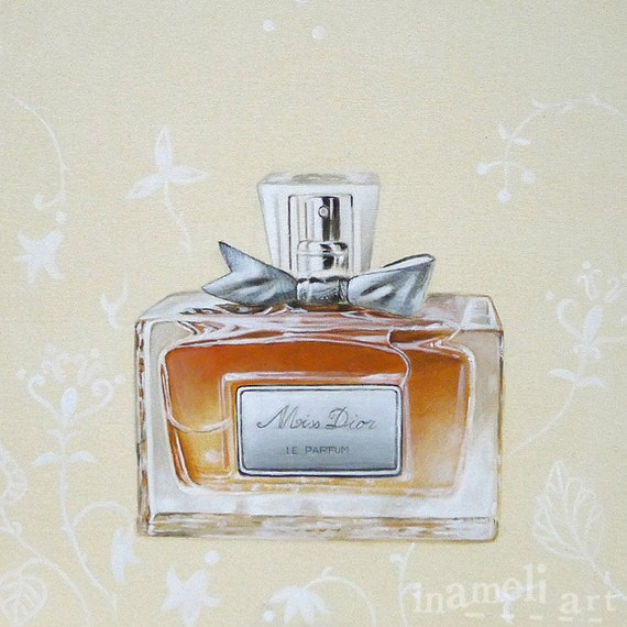Miss Dior Acrylic Painting Paris Perfume Bottle With Bow