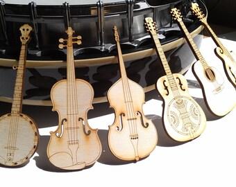 Set of Six Bluegrass Magnets Laser Cut - (MU-BG6)