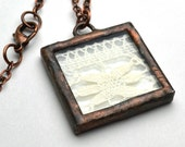 Stained Glass Lace Pendant Necklace Square