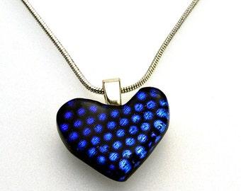 Dichroic Heart Pendant Blue Dots on Black Necklace