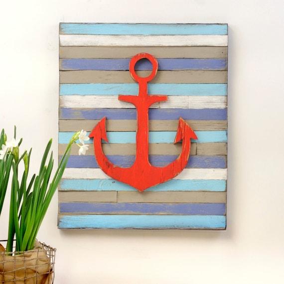 Etsy Coastal Wall Decor : Items similar to anchor wall art pallet nautical decor
