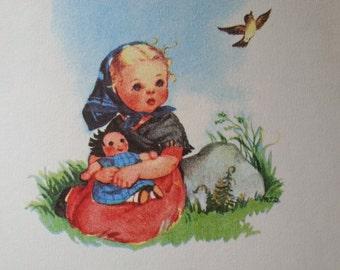 children's book - Vintage Little Golden Book: Prayers for Children - vintage illustration art