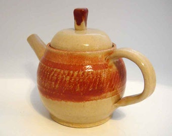 Ceramic  Teapot- Stoneware Pottery Teapot -  Hand crafted and hand thrown- Tea Lover - Beige and Orange - Artisan made