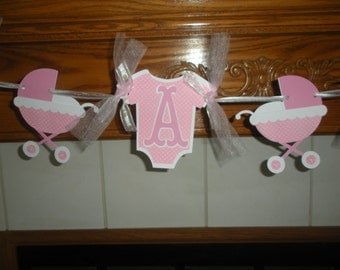 Baby Onesies Banner, Baby Buggy Banner, Gender Reveal Banner, Its A Girl Baby Banner, Shower Welcome Baby Banner Matching Pom Poms Available