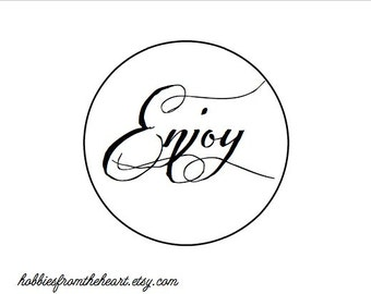 "Enjoy Stickers (set of 24)- 1""  simple- Kraft or White round labels/seals - wedding seal"
