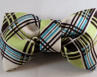 Dog Flower, Dog Bow Tie, Cat Flower, Cat Bow Tie - Corner Plaid