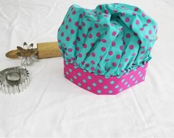 Aqua & Pink Dot Child Chef Hat - Adjustable