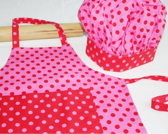 Pink & Red Dot Child Apron and Adjustable Chef Hat