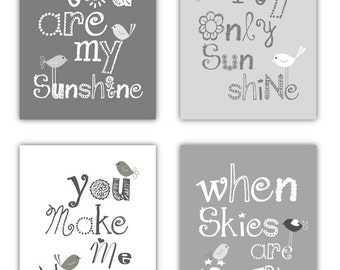 "Gray Nursery Art Prints // You Are My Sunshine Art // Gray Nursery Decor // Grey Nursery Art // Neutral Nursery // 4-8x10"" PRINTS ONLY"